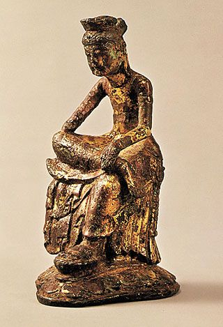 Gilt-bronze Pensive Maitreya Bodhisattva