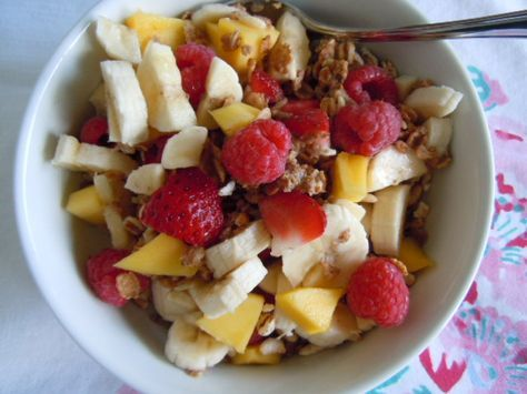 Rip's Big Bowl Cereal - 1T each - (Grape nuts, shredded wheat, Uncle Sam's cereal), banana, mango & fresh berries, 1T walnuts, 1/2T flax seed and 1/2c almond milk  ...@ Engine2 Diet - Rip Esselstyn