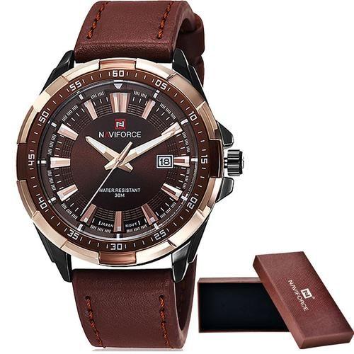 NAVIFORCE homens da marca Casual Relógios desportivos Homens Waterproof relógio de quartzo de couro Homem militar