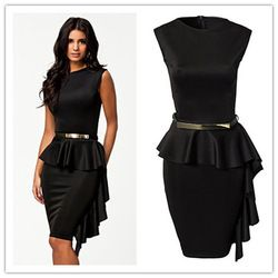 Online Shop vestido de renda curto Black One-Side Draped Stylish Peplum Dress big size new fashion style sexy summer On formal occasions |Aliexpress Mobile