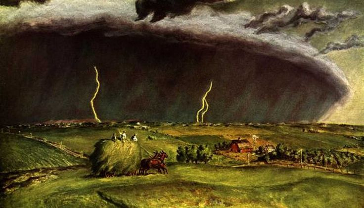 John Steuart Curry (American, 1897–1946) The Line Storm, 1934. Oil and tempera on panel, 36 x 48 in (91.44 x 121.92). Private collection.