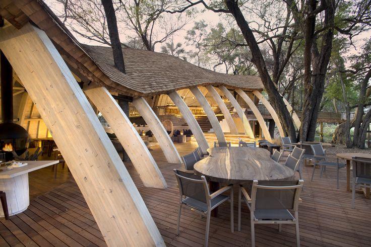 Our Sandibe Lodge Main Area - Curved portal beams creating form