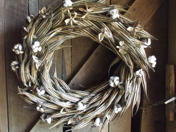 dried cotton burr and okra wreaths - Google Search