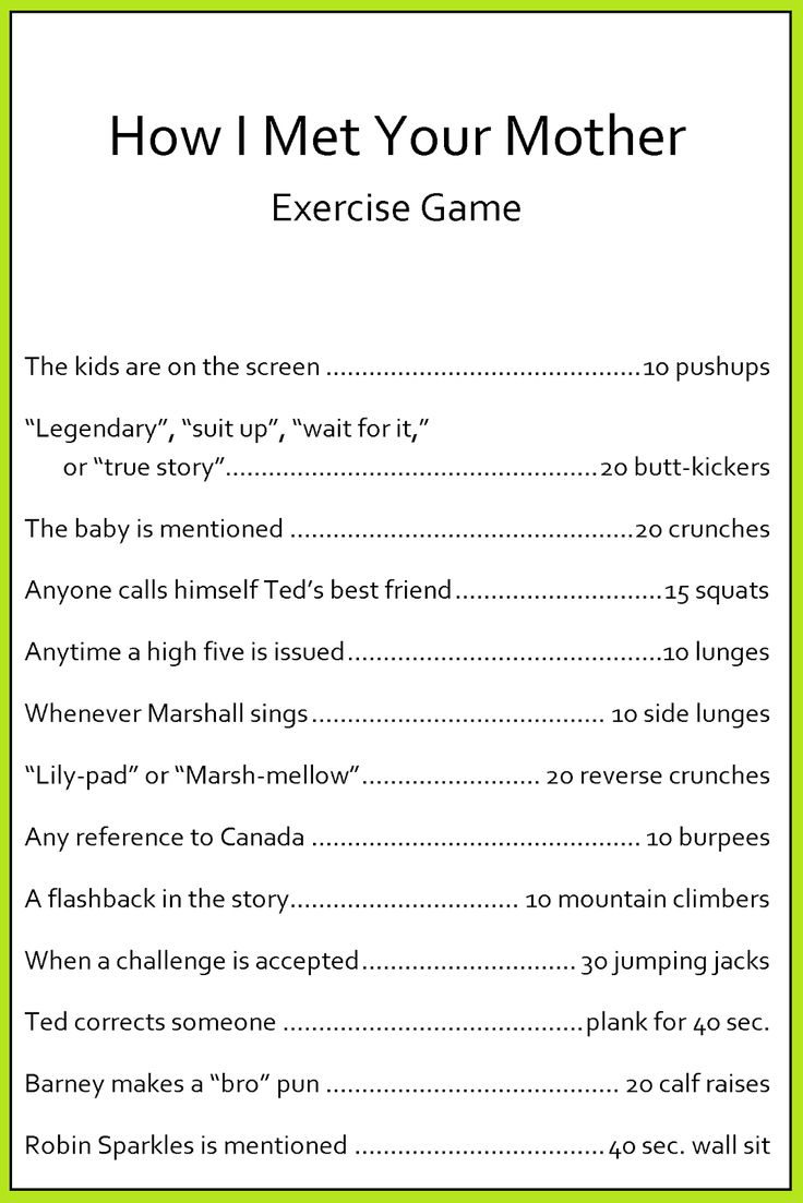 HIMYM (How I Met Your Mother) Exercise Game @ WhimsiKel