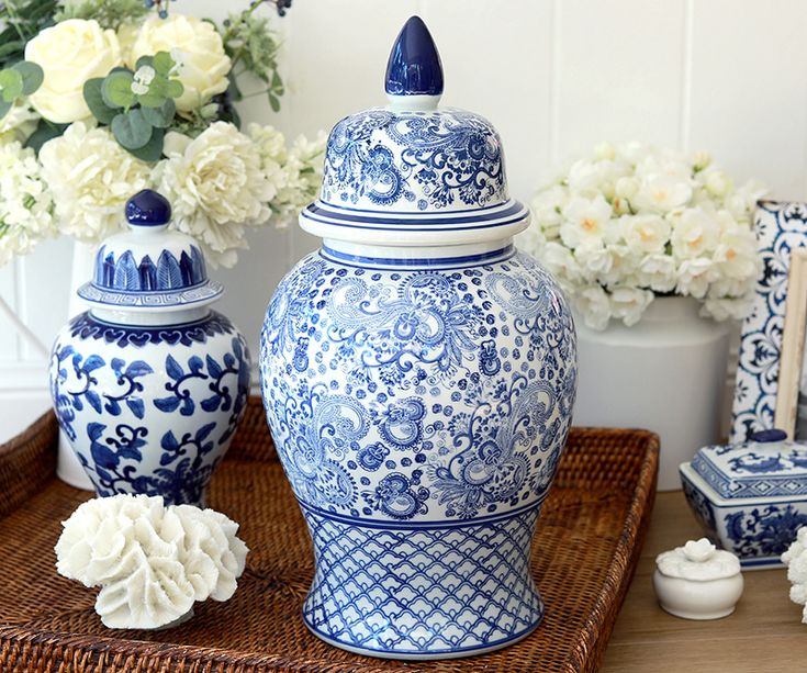 Montclair Tall Blue & White Temple Jar