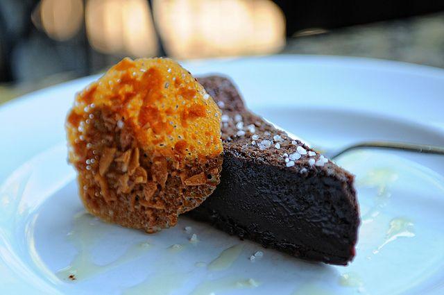 La Tavola's FLOURLESS CHOCOLATE CAKE olive oil, sea salt, almond tuille    http://latavolatrattoria.com