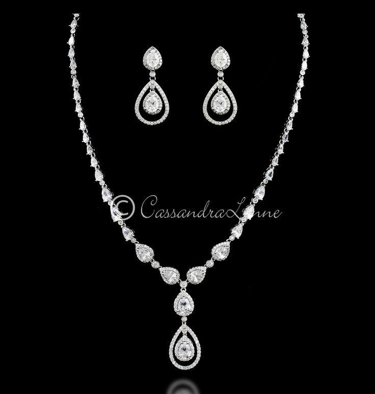 Clear Cubic Zirconia Teardrop Bridal Necklace Set