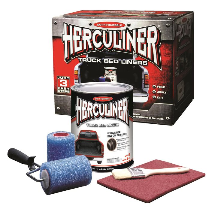 Find Herculiner Brush-On Bedliner Kits HCL1B8 and get Free Shipping on Orders Over $99 at Summit Racing!  Herculiner brush-on bedliner kits are designed to keep your truck bed from getting scratched, while protecting your vehicle's paint and cargo. The kits include a gallon container of coating, two rollers for application, one abrasive pad, one roller handle, one can opener tool, one 2 in. brush for the tight spaces, and easy-to-follow instructions. Find Herculiner Brush-On Bedliner Kits…