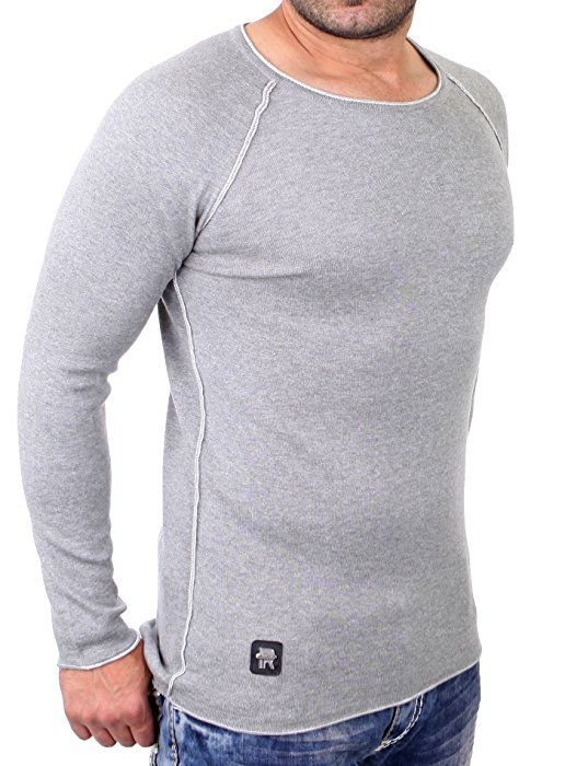 Redbridge Sweatshirt Herren Slim Fit Rundhals Pullover Langarm RB-3010 Grau L