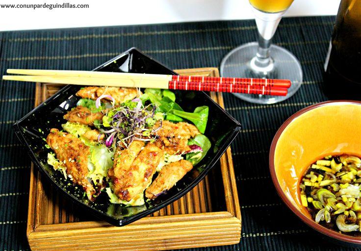 Ensalada tibia de pollo salteado. #Asaltablogs | Con un par de guindillas | Gastronomía, viajes, salud y nutrición