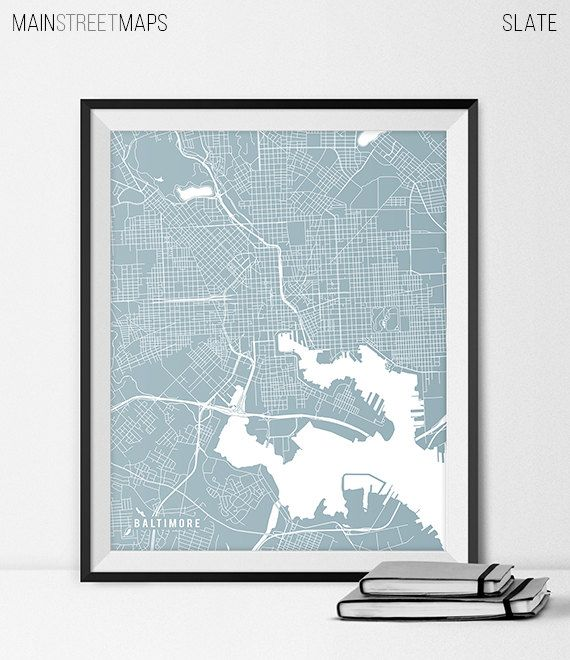 Baltimore Map Art Print Baltimore City Map of by MainStreetMaps https://www.etsy.com/listing/226626444/baltimore-map-art-print-baltimore-city?ref=shop_home_active_3