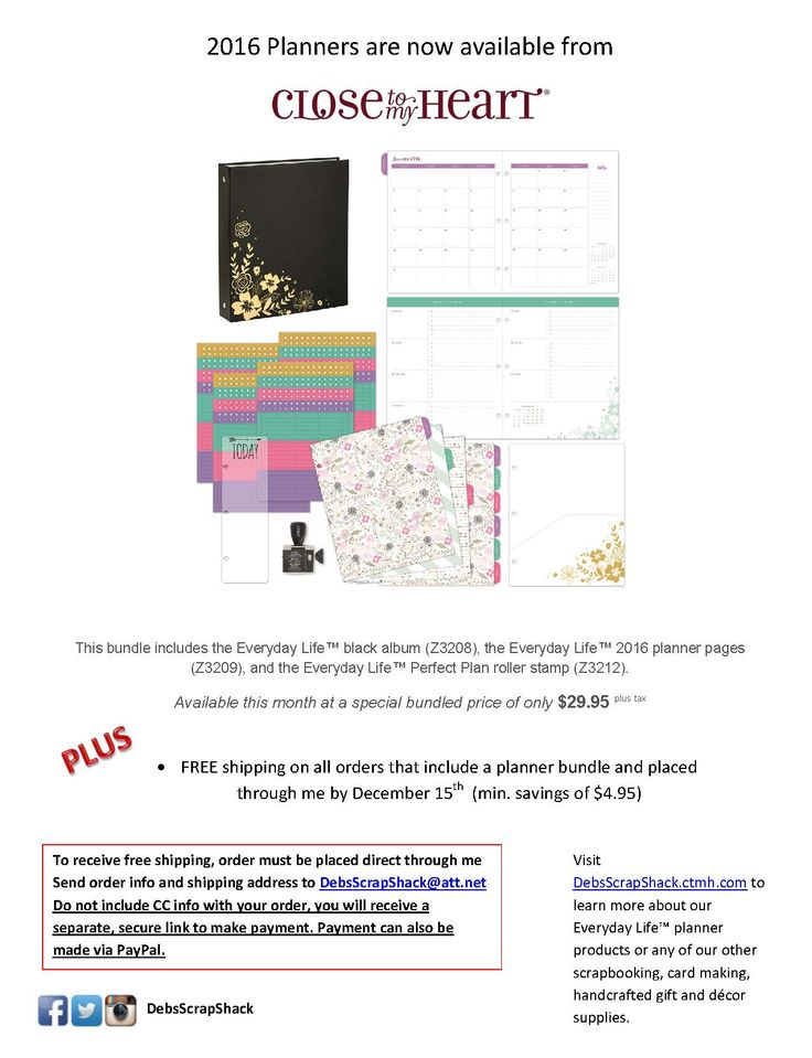 Special Bundle Price on 2016 Planner, additional planner items available http://debsscrapshack.ctmh.com/Retail/Products.aspx?CatalogID=146