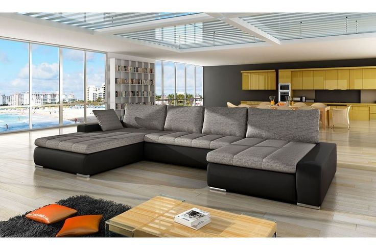 scafati fabric leather corner sofa bed black grey white