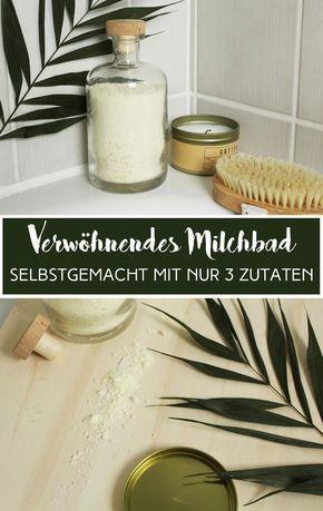 Baden wie die Könige! Mit nur 3 Zutaten macht ihr euer eigenes verwöhnendes Milchbad. #baden #bath #badezusatz #selbstgemacht #selber #machen #diy #do #it #yourself #milchbad #milch #kokos #kokosnuss #coconut #meersalz #seasalt #milk #powder #pulver #easy #fast #geschenk #idee #verschenken #present #healthy #no #waste #nachhaltig #sustainable