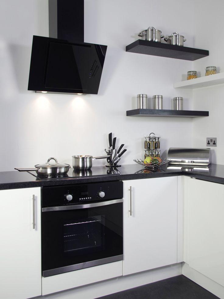 Art28203 60cm Black Angled Glass Cooker Hood Angled Cooker Hoods Glass Backsplash Kitchen