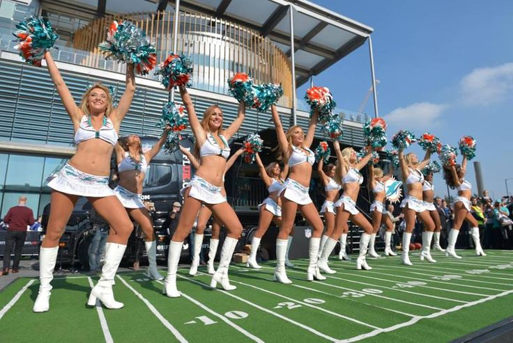 NFL: International Series-New York Jets at Miami Dolphins  Oct 4, 2015; London, United Kingdom; Miami Dolphins cheerleaders perform during tailgate festivities before Game 12 of the NFL International Series against the New York Jets at Wembley Stadium. Mandatory Credit: Kirby Lee-USA TODAY Sports