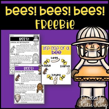 This resources is a great supplement to any unit on Bees.  The passage focuses on the difference between solitary and social bees.  It also talks about the importance of bees to our ecosystem.  There is also a bee life cycle poster.  This freebie pairs perfectly with Storybook STEM March  Hope you enjoy!