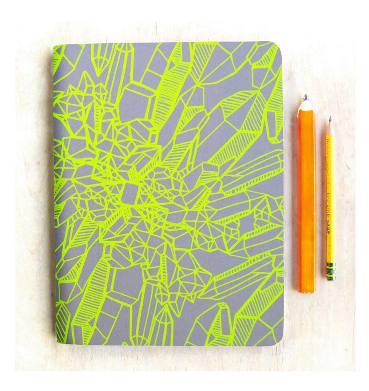 Blank Notebook, Yellow Crystal Journal, Handmade Art Sketchbook, hand printed crystal art print, gift for teen, gift for mom, crystal lover by alittlelark on Etsy https://www.etsy.com/au/listing/258105774/blank-notebook-yellow-crystal-journal
