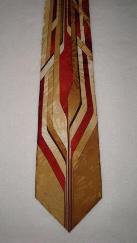 VITALIANO-PANCALDI-100-Silk-Abstract-Gold-Chain-Mens-Neck-Tie-Made-in-ITALY