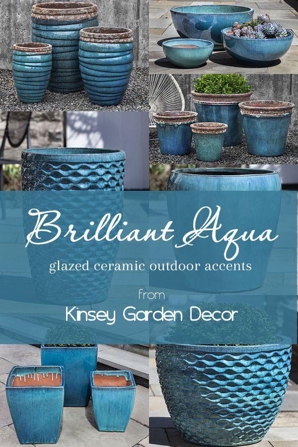 Tall Guaracha Aqua Ceramic Large Planters Kinsey Garden Decor Planter Pots Outdoor Ceramic Planter Pots Blue Planter