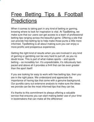 Free betting tips & football predictions Free Betting Tips, Predictions & Accumulators – TIPSBETTING.CO.UK