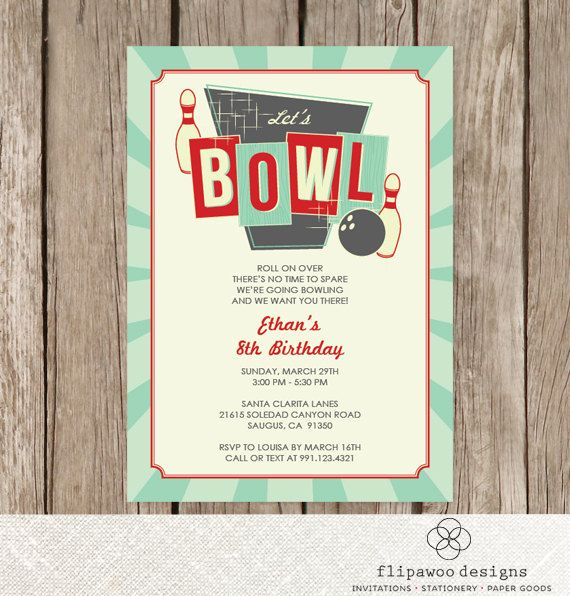 Bowling Birthday Invitation Retro Birthday by FlipawooDesigns