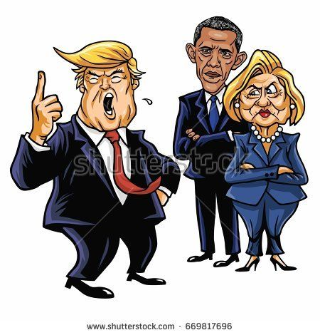 Donald Trump, Hillary Clinton, and Barack Obama. Cartoon Caricature Vector Illustration. July 2, 2017