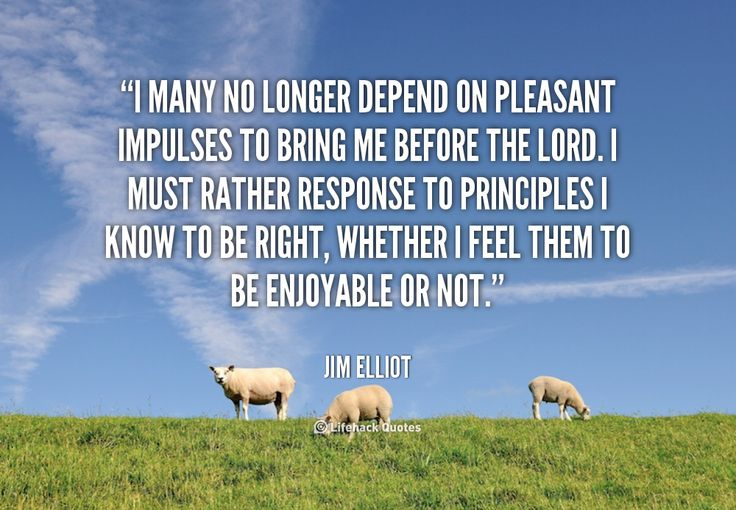 I many no longer depend on pleasant impulses to bring me before the Lord. I must rather response to principles I know to be right, whether I feel them to be enjoyable or not. - Jim Elliot at Lifehack QuotesJim Elliot at http://quotes.lifehack.org/by-author/jim-elliot/