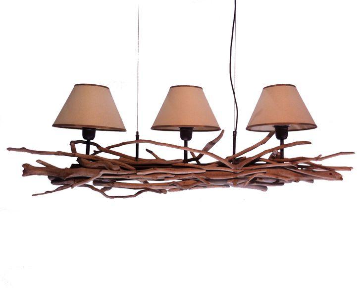 Φωτιστικό οροφής 3φωτο με αμπαζούρ και ξύλα θαλάσσης | Wood Collection | Φωτιστικό οροφής 3φωτο με αμπαζούρ και ξύλα θαλάσσης from Lampadari Ξύλινο φωτιστικό με αμπαζούρ για τραπεζαρία.  Handcrafted Driftwood chandelier, with lampshades.