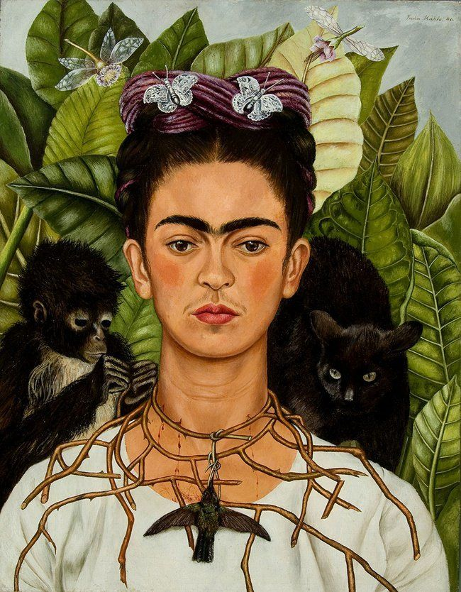 Frida Kahlo & Diego Rivera: Self-Portrait w/Thorn Necklace & Hummingbird - Jigsaw Puzzle by Eurographics Framed Art Prints, Poster Prints, Canvas Prints, Art Posters, Frida Kahlo Portraits, Frida Kahlo Artwork, Frida Kahlo Prints, Self Portrait Art, Famous Self Portraits