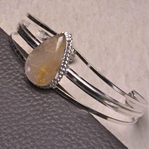 "#Bracelet #windowpub NATURAL GOLDEN RUTILATED QUARTZ GEMSTONE CUFF BRACELET 8""~10"" 925 SILVER PLATED #Bracelet #windowpub"