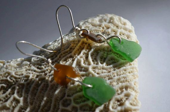 Brown and Green Sea Glass Earrings