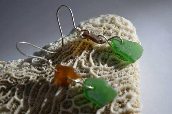 Brown and Green Sea Glass Earrings