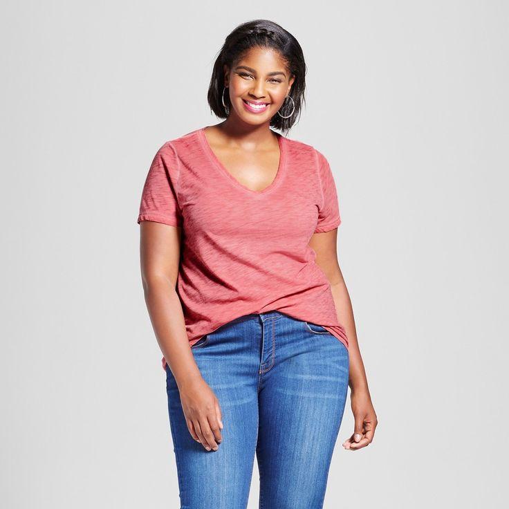Women's Plus Size V-Neck T-Shirt - Ava & Viv Primrose Pink 3X