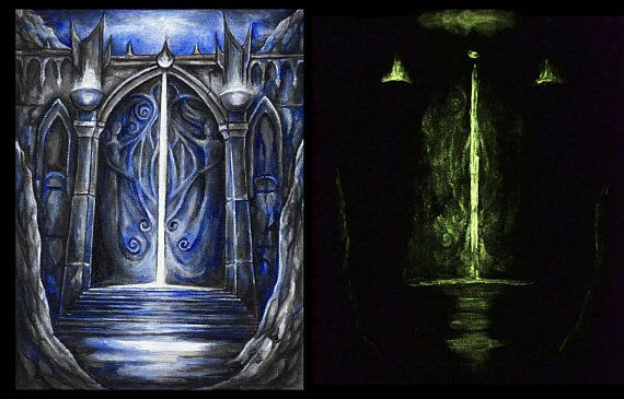 The Gate - Original acrylic painting in Frame, framed painting, glow in the dark painting, fantasy art