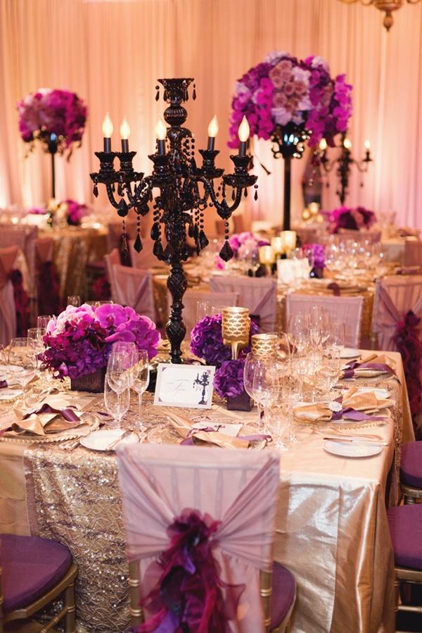 black white purple wedding reception%0A Love the bold purples  black and rock star gold linen