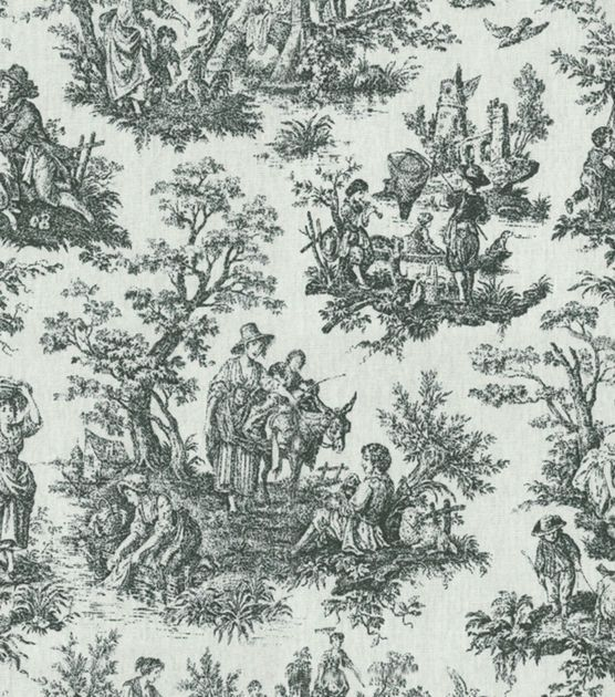 """Waverly Upholstery Fabric 54"""" - Rustic Toile Black"""