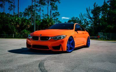 Scarica sfondi tuning, bmw m4, arancione bmw, i dischi blu, incurve, ruote, lp-5