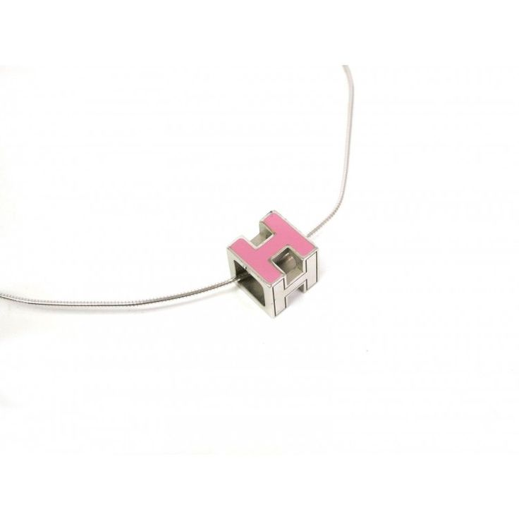 This authentic HERMES Pop H NecklacePendant is made from silver enamel with light pink lacquer. Hung on a silver plated chain you cant go wrong with this perfectly simple design by HERMES. For more items like this visit https://www.swayy.com.au/