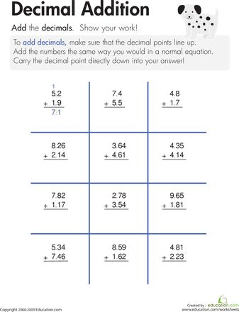 Subtraction Worksheets : decimal addition and subtraction ...