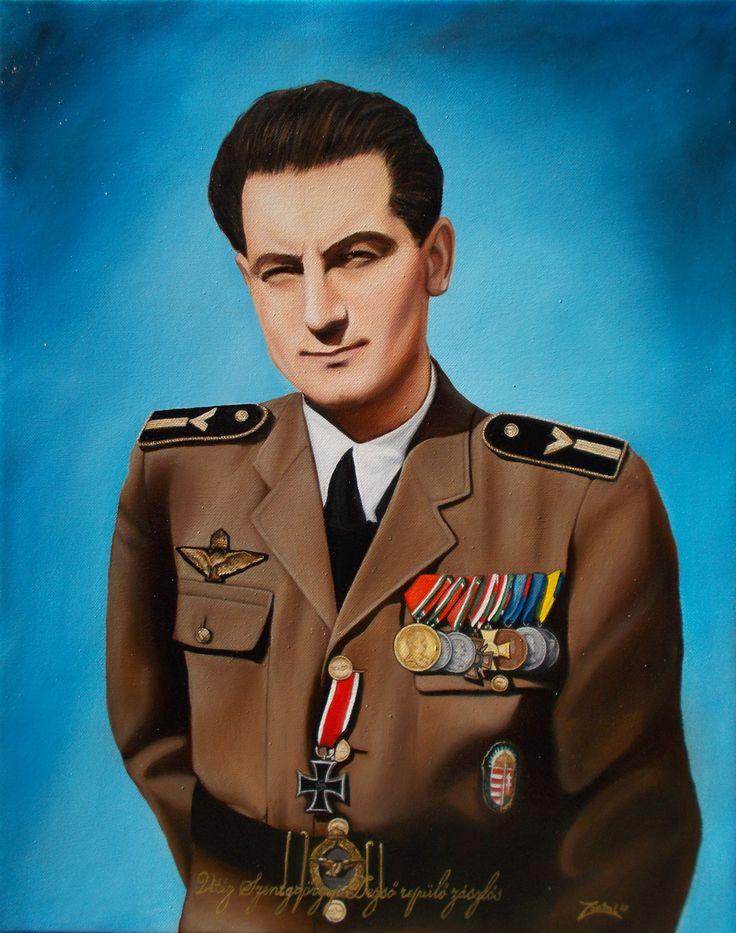 Vitéz Szentgyörgyi Dezső repülő főhadnagy portréja (40x50 cm-es olajfestmény)