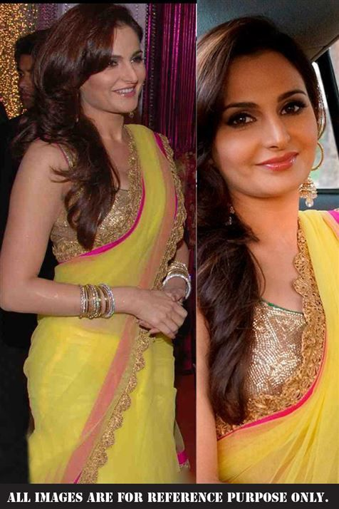 Monika Bedi Yellow Replica Saree
