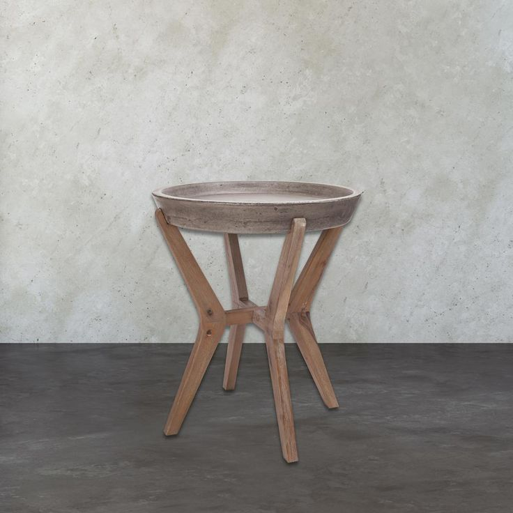 Tonga Waxed Concrete and Silver Side Table, Waxed Concrete/Silver Brushed Woodtone