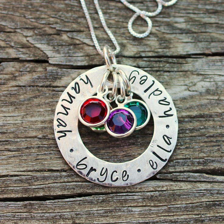 Birthstone Open Circle Childrens Name by TagYoureItJewelry on Etsy, $58.00