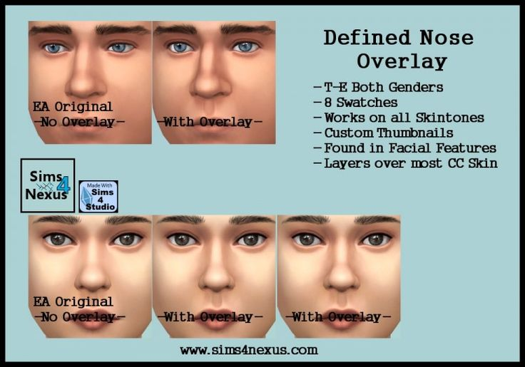 The Sims 4 | Sims 4 Nexus defined nose overlay facial details