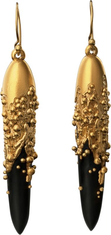 fashion coats for women Electro Formed Jet Earrings with 18k gold Granulation by Jacqueline Cullen