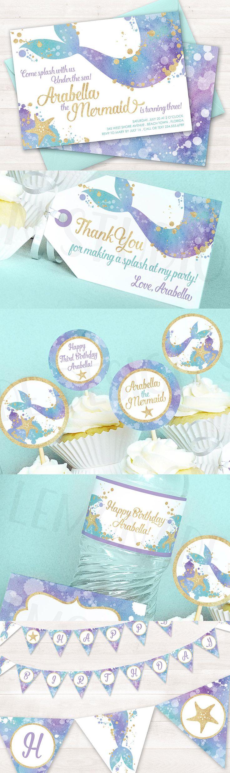 Mermaid invitation by Lemonade Design Studio - Mermaid printable party decor sold separately. Mermaid birthday party - mermaid baby shower - mermaid party decorations - printable mermaid decor - mermaid cupcake toppers - mermaid birthday banner