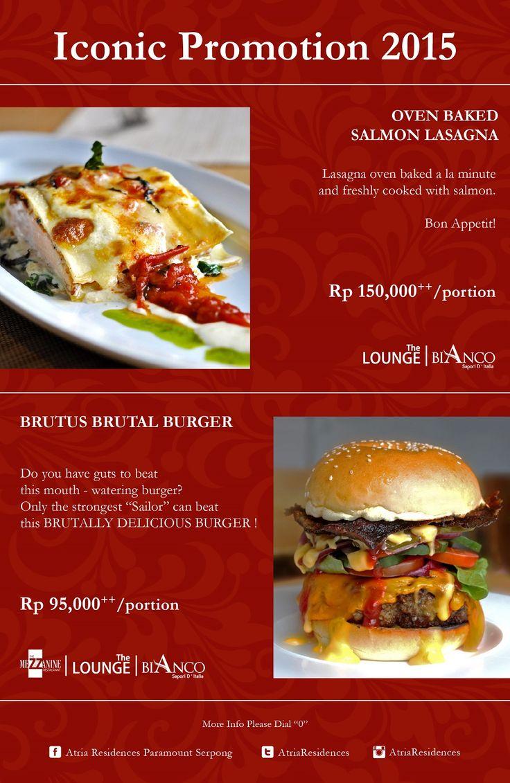 Iconic Promotion 2015 Oven Baked Salmon Lasagna & Brutus Brutal Burger.