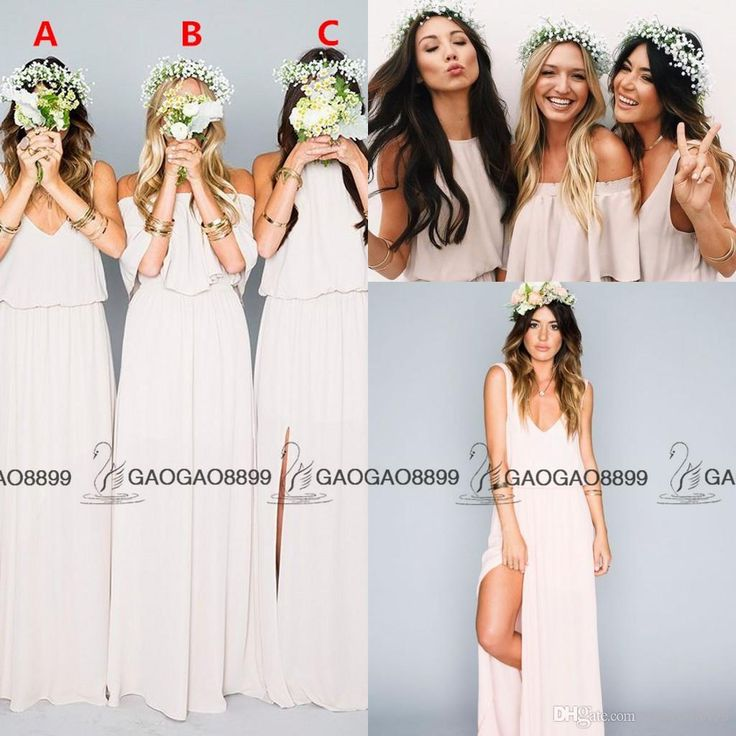 Chic Elegant Chiffon Split Boho Beach Mumu Bridesmaid Dresses In Cream 2016 Custom Make Full Length Cheap Maid Of Honor Dress Petite Bridesmaid Dresses Sage Green Bridesmaid Dress From Gaogao8899, $62.42| Dhgate.Com