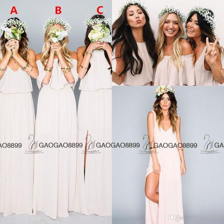Chic Elegant Chiffon Split Boho Beach Mumu Bridesmaid Dresses In Cream 2016 Custom Make Full Length Cheap Maid Of Honor Dress Petite Bridesmaid Dresses Sage Green Bridesmaid Dress From Gaogao8899, $62.42| Dhgate.Com